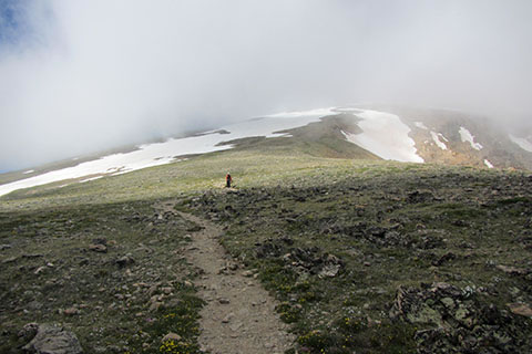 looking up the east ridge into the clouds