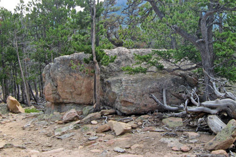 boulder along the trail