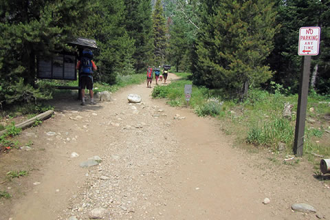 Backpackers leaving Death Canyon Trailhead