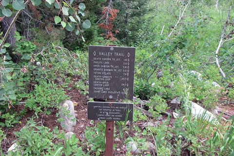 Valley Trail junction sign