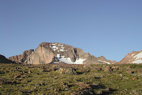 from near the boulderfield, view of Longs Peak