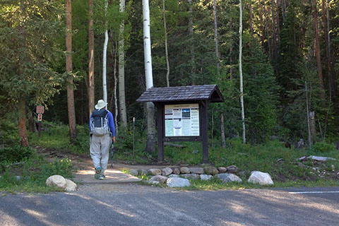 hiker near the Green Mountain Kiosk