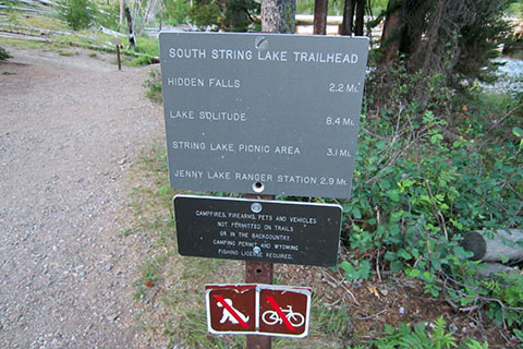Mileage Sign near Jenny Lake Trail