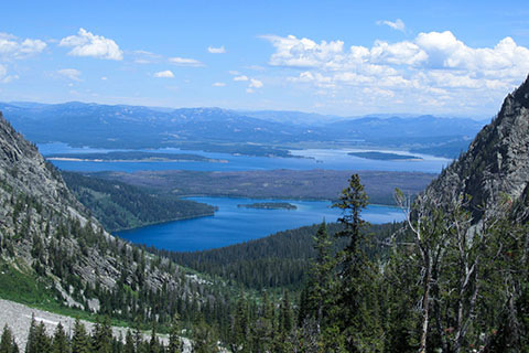 View of Leigh and Jackson Lake from Paintbrush Canyon