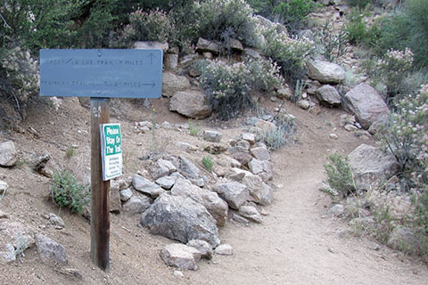 .90 Mileage post at the La Luz and Tram Trail junction