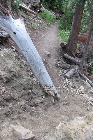 Steep descent through landslide debris