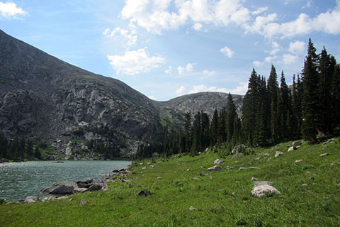 view from the boulder on the west side of Timber Lake